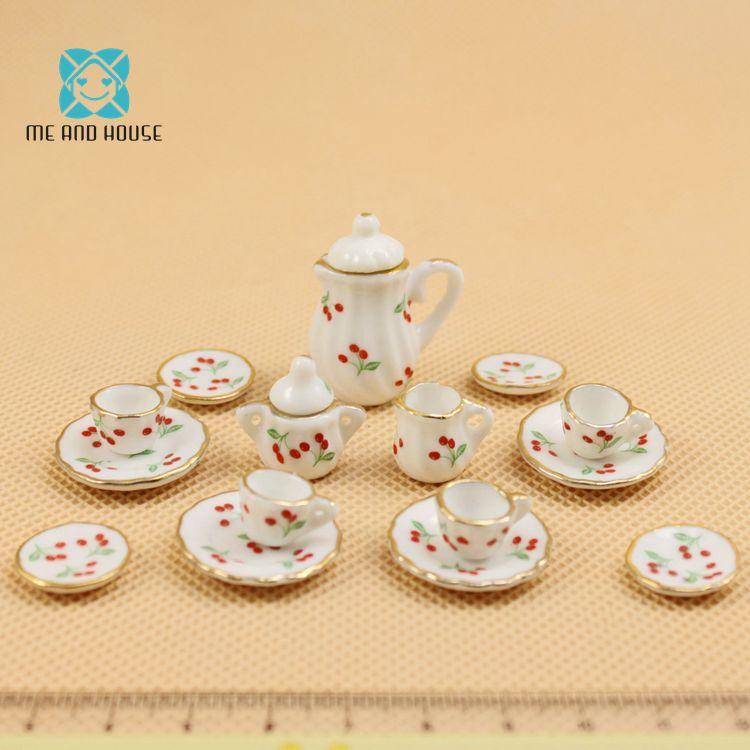 1:12 Scale Doll House Furniture Tableware 17 PCS China Dolls Ceramic Miniature Tea Sets