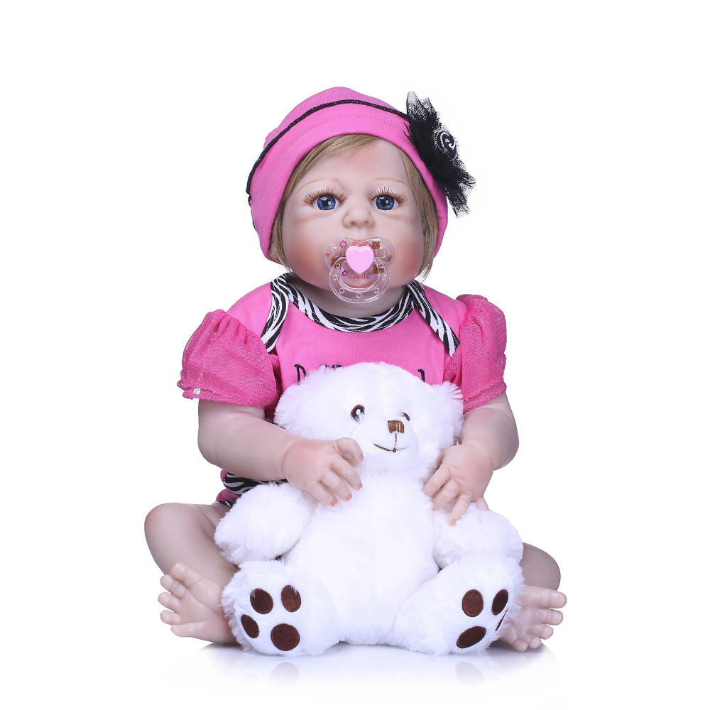 все цены на Nicery 22inch 55cm Bebe Reborn Doll Hard Silicone Boy Girl Toy Reborn Baby Doll Gift for Child Pink Clothes White Bear Baby Doll онлайн