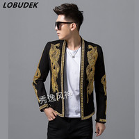 nightclub Men's Slim rivet Embroidery jacket Party Male Singer dancer show Stage wear Performance Costume casual coat overcoad