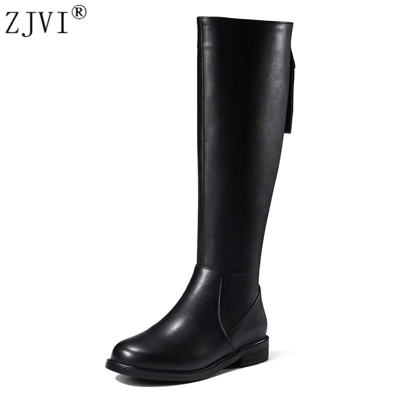 ZJVI women fashion knee high boots woman autumn winter thigh high boots 2018 womens genuine leather PU boots ladies black shoes womens lace up over knee high suede women snow boots fashion zipper round toe winter thigh high boots shoes woman