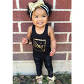 New Girls sets 2017 Baby Girls Summer clothing sets fashion sleeveless letter shirt +black Pants suits kids hot selling