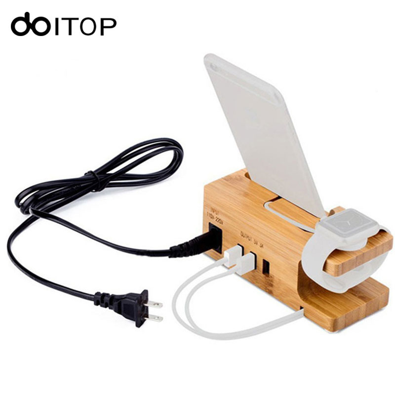 DOITOP Bamboo Wood Charger Station With Watch Holder universal Mobile Desk Charging Dock For Watch iPhone 5 6 7 8 Plus X A3
