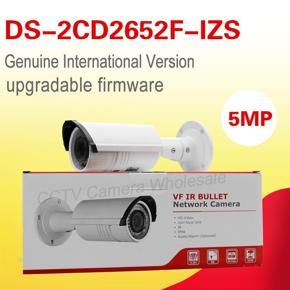 English version DS-2CD2652F-IZS 5MP Bullet Network POE CCTV Camera motorized vari-focal lens 2.8-12mm 30m IR IP66 hik origina ds 2cd2642fwd is 4mp wdr 2 7 12mm vari focal lens network hd bullet poe cctv camera