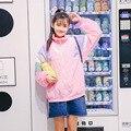Осенняя мода женщины повседневная Harajuku Лоскутное С Длинным рукавом Стенд воротник молния Свободные пальто для девочек