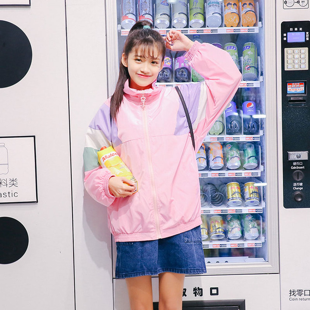 Осенняя мода Женская Повседневная Harajuku в стиле пэчворк с длинным рукавом и стоячим воротником на молнии свободные куртка для девочек