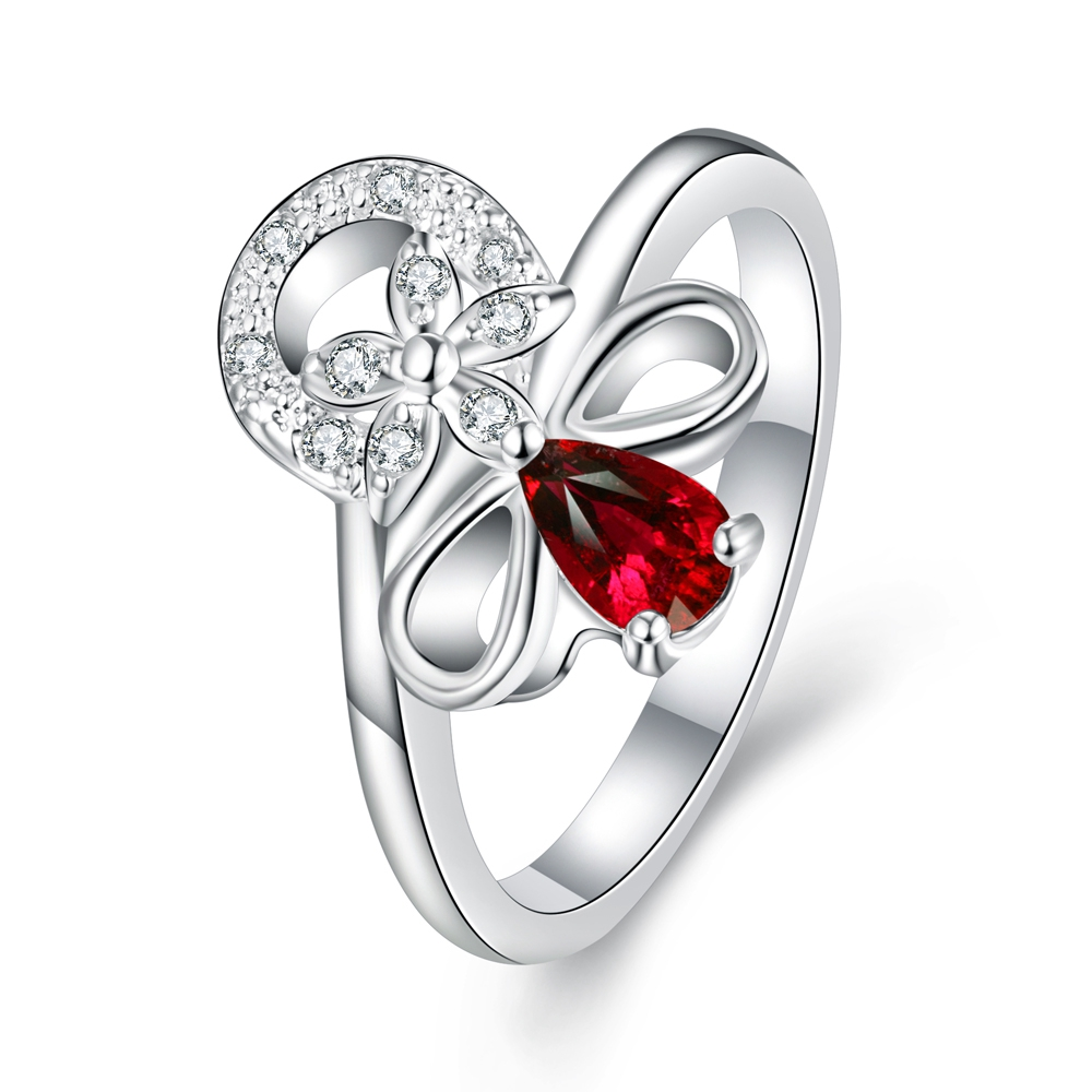 Megrezen Women Wedding Rings Silver Plated Costume Jewelry Charms Engagement  Ring With Red Stone Bague Pierre