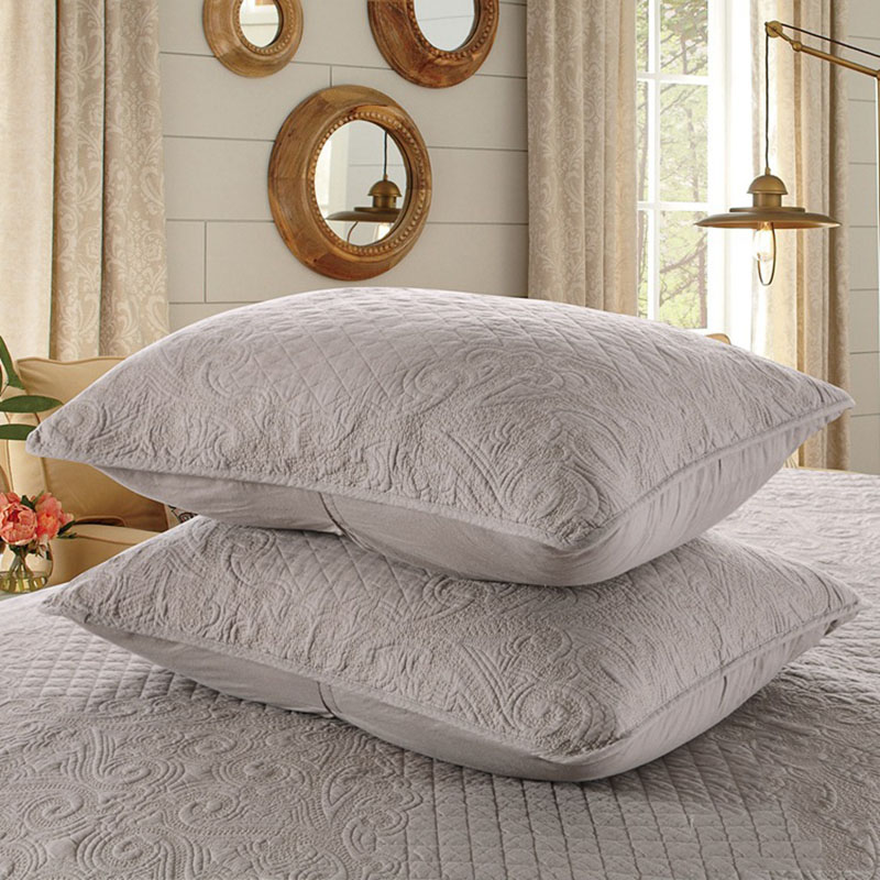 CHAUSUB Bedspread Quilt Set 3PCS Europe Embroidered Cotton Quilts Quilted Coverlet Bed Cover Sheets Pillowcase King Size Bedding in Quilts from Home Garden
