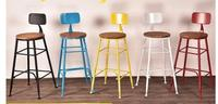 The bar chair. American restoring ancient ways, wrought iron. Stool wood bar stools