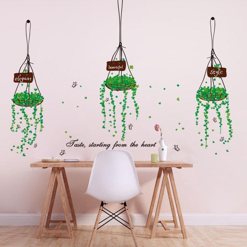 [Fundecor] diy home decor green signage basket wall stickers restaurant door decoration  ...