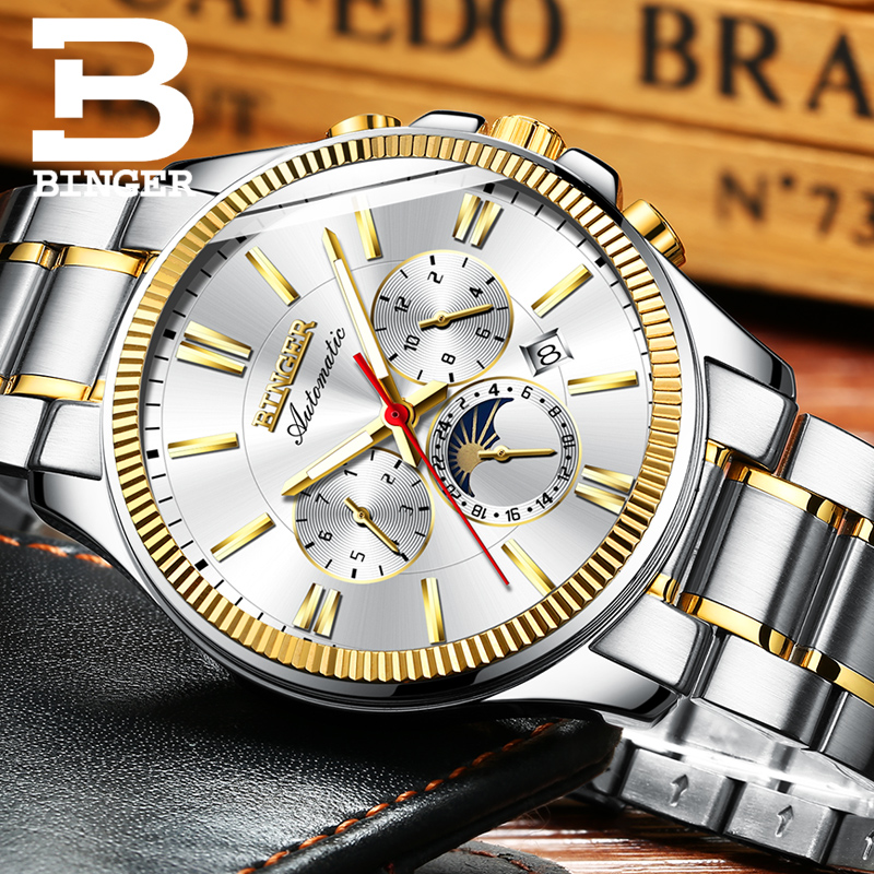 BINGER Watch Men Luxury Brand Automatic Mechanical Men Watches Sapphire Wristwatches Moon Phase relogio masculino Mens Watches luxury brand tevise automatic mechanical watches moon phase gold men watches steel clock mens wristwatches relogio masculino