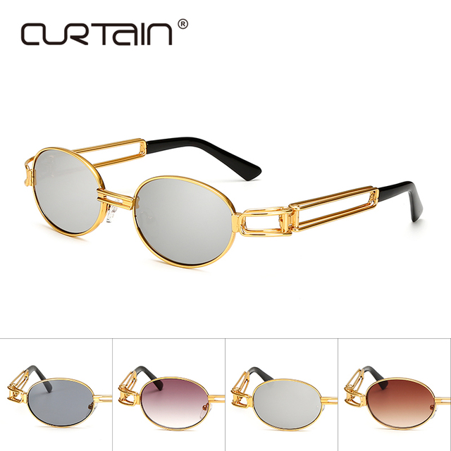 5f2b866bb6 Hip Hop Retro Small Round Sunglasses Women Vintage Steampunk Sunglasses Men  Gold sun Glasses for women Frame Eyewear Oculo UV400