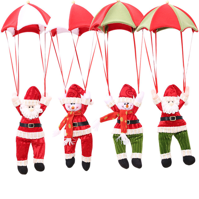 Festival Gift Christmas Home Ceiling Decorations Parachute Santa Claus Snowman New Year Hanging Pendant Decor