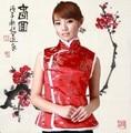Традиционный Китайский Одежда Для Женщин Blusa Chinesa Традиционный Китайский Cheongsam Топ Tangzhuang Жилет Восточный Pankou Qipao Топ