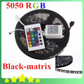 Waterproof Black PCB 5050 LED Strip RGB Black-matrix Ribbon with 60Leds/M 5050 Blackbase 24Key controller Free Shipping