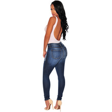 WZYCHDS Blue Bleach Wash Distressed Rock Denim Jeans Women Casual High Waist Button Fly Ripped Pants 2018 Skinny Jeans 04222113