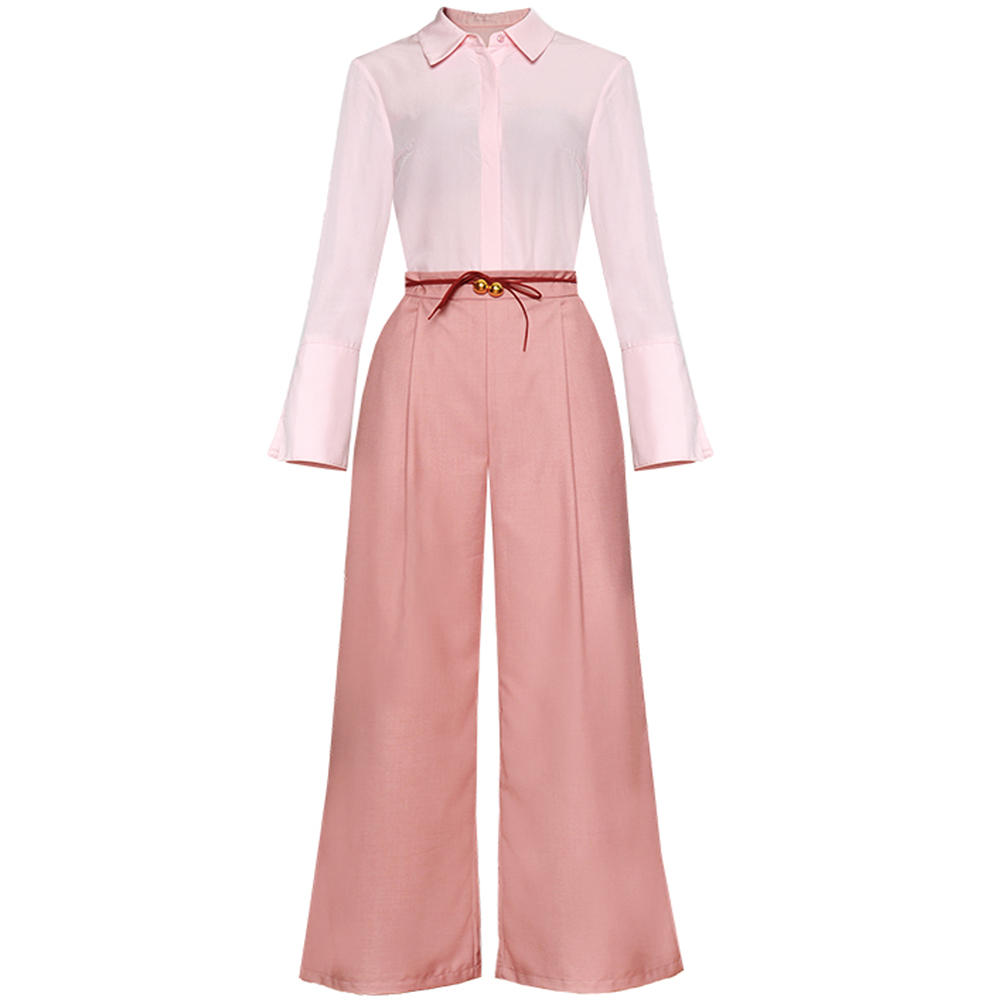 Red RoosaRosee Fashion Office Lady Turn down Collar Long Sleeve Shirt Pocket Wide legged Trousers Suit