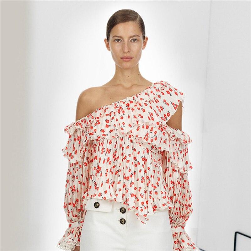 2019 auto Portrait Designer piste en mousseline de soie Blouse femmes Sexy hors épaule volants chemise femme Floral imprimé plissé hauts Befree