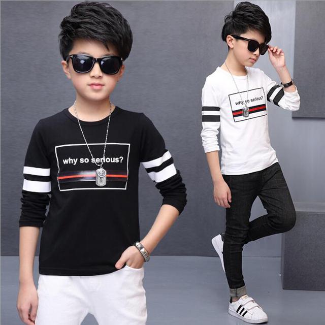 7 das crianças desgaste meninos primavera 5 6 8 10 12 14 anos menino manga longa T-shirt de marca T-shirt de algodão criança letras brancas menino traje