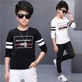 Desgaste de los niños chicos primavera 5 6 7 8 10 12 14 años niño de manga larga T-shirt marca niño Camiseta de algodón blanca letras boy traje