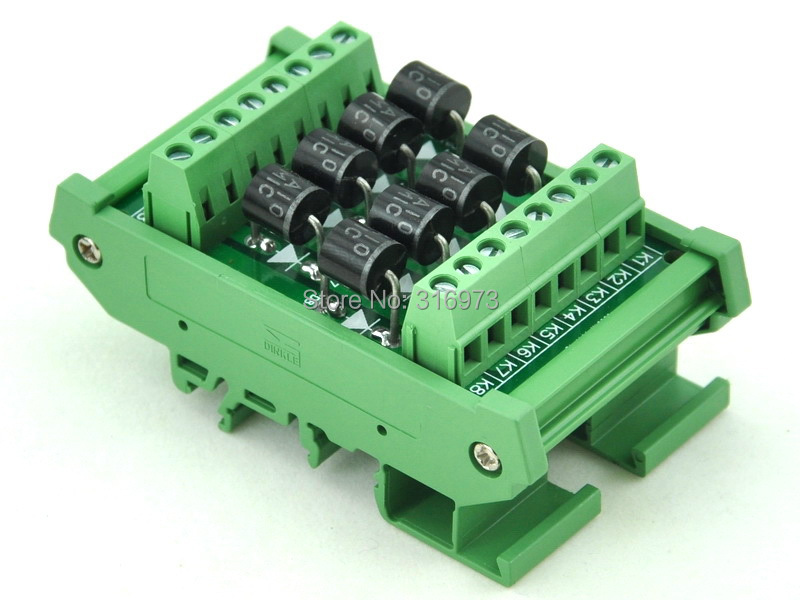DIN Rail Mount 6 Amp 1000V 8 Individual Diode Module, 6A10.