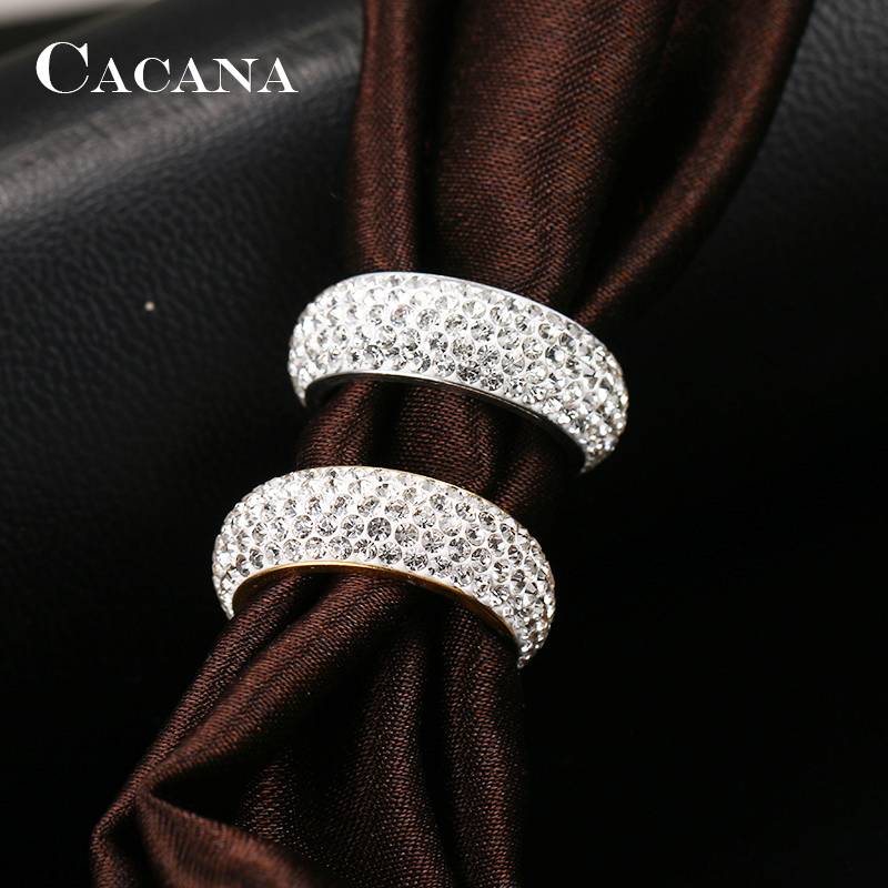 CACANA Stainless Steel Rings For Women Cubic Zirconia Wedding Ring Fashion Jewelry Wholesale NO.R192 193 7