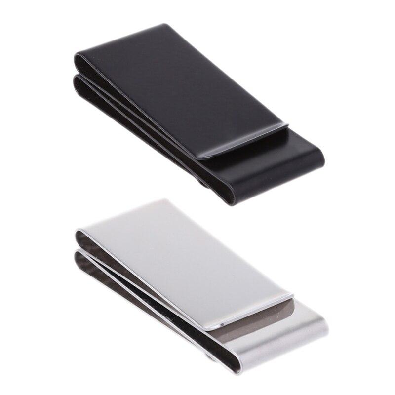 THINKTHENDO nuevo delgado de acero inoxidable de doble cara Clip de dinero Clip cartera tarjeta de crédito titular de la identificación de las mujeres de los hombres Clips 6x2.6x1.2cm