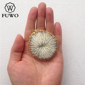 Image 5 - FUWO Bianco Naturale di Corallo Del Pendente 24K Oro Placca Marine di Corallo Del Fiore Delle Donne di Modo Commercio Allingrosso Dei Monili PD503