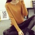 2016 Mujeres Suéteres Y Jerseys Suéter Caliente Mujeres Del Invierno del O-cuello suéter del espesamiento torcido suéter delgado pullover