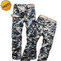 Fashion 2016 Spring Autumn Men Straight Cotton Camo Cargo Pants Camouflage Militar Tactical Army Multi Pocket Baggy Trousers