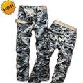 Moda 2016 Primavera Otoño de Los Hombres Rectos de Algodón Pantalones Cargo Camo Camuflaje Militar Del Ejército Táctico Multi Pocket Baggy Trousers