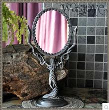 Oval do vintage 360 rotating maquiagem dupla face mesa de desktop maquiagem espelho de maquilhagem em relevo cut-out espelho maquiagem J001