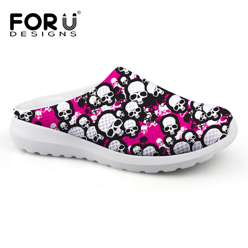 FORUDESIGNS Fashion Women Summer Sandals Breathable Mesh Slip-on Beach Water Shoes Female Lightweight Punk Skull Printed Loafers