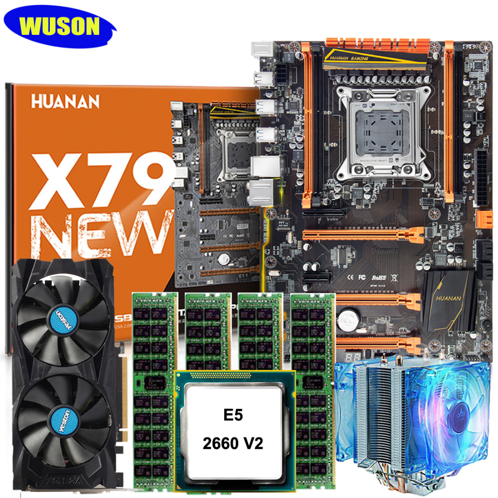 New HUANAN ZHI deluxe X79 gaming motherboard with M.2 slot CPU <font><b>Xeon</b></font> E5 <font><b>2660</b></font> V2 with cooler RAM 64G(4*16G) video card RX460 4GD5 image