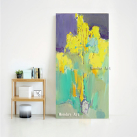 100% Handpainted Abstract art Landscape Canvas Painting Free yellow Art Poster Living Room Decor Seabirds Wall Pictures Decor