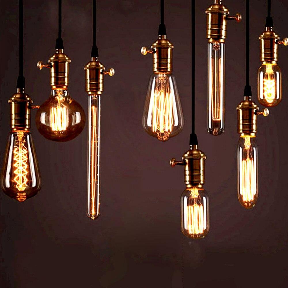 Vintage Edison Filament Bulb E27 Retro Lamp 220V 40W Ampoule Antique Lampada Incandescent Light ST64 T10 T30 T45 G95 Decoration