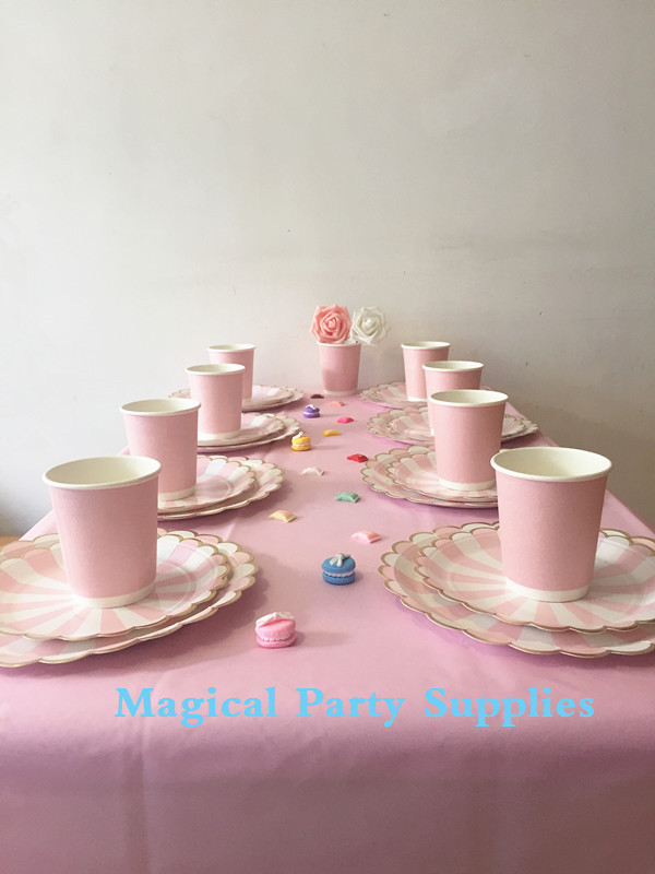 Baby Pink Tableware Set Baby Pink Paper Plates Foil Gold Doughtnut Foil Pink Cups Pink Table Cover Wedding Celebration Favor-in Disposable Party Tableware ... & Baby Pink Tableware Set Baby Pink Paper Plates Foil Gold Doughtnut ...
