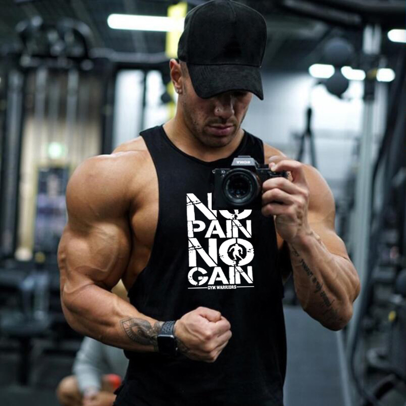 Muscleguys Brand Clothing NO PAIN NO GAIN Fitness shirt cotton gyms   tank     top   men sleeveless   tops   bodybuilding Stringer Tanktop