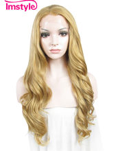 Imstyle Deep Wave honey ash Blonde 24 inches Drag queen fake hair Synthetic Lace Front Wigs for women(China)