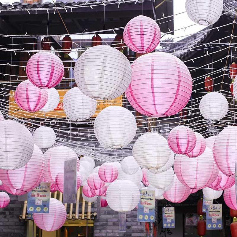 สีขาวสีจีนโคมไฟกระดาษ 10/15/20/25/30/35/40 ซม.สำหรับงานแต่งงานวันหยุดตกแต่งอุปกรณ์กระดาษ Ball