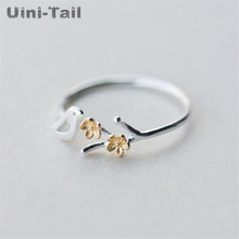 Open-Ring Flowers Birds 925-Sterling-Silver Golden Fashion Cute Hot Sweet Uini-Tail GN311