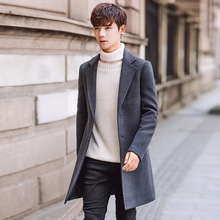 Casual Solid Men Long Wool Blend Coat Fashion Slim Cashmere Jacket Turn Down Collar Single Breasted