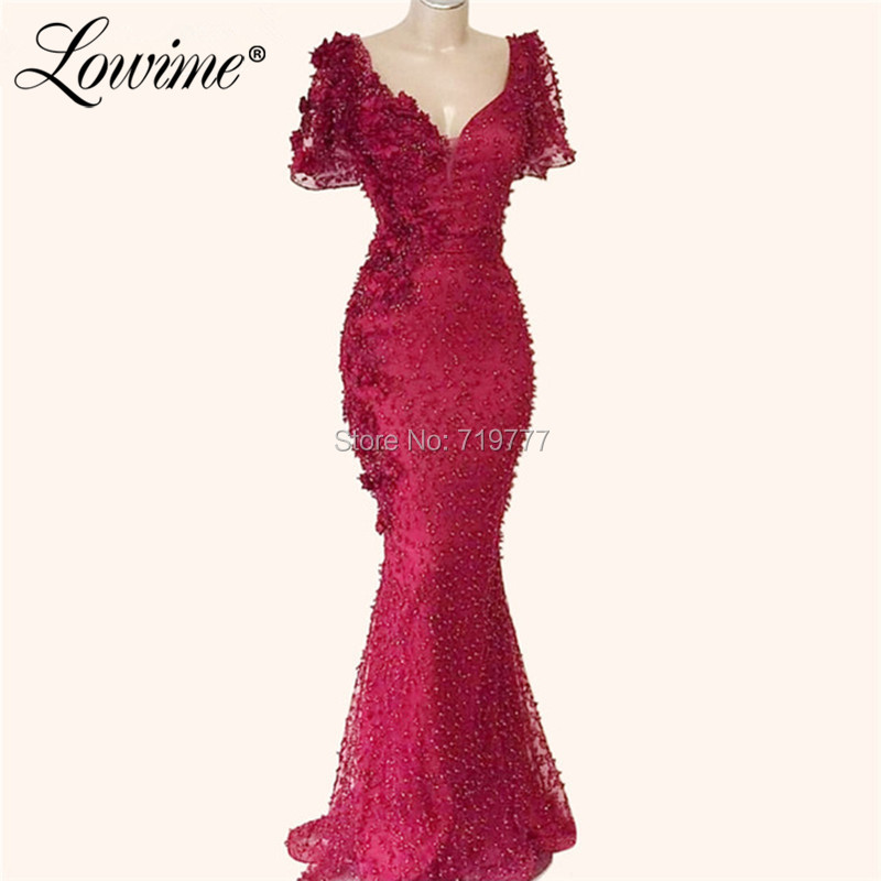 Baeded Flower   Evening     Dresses   2019 V Neck With Short Sleeves Middle East Women Arabic Party   Dress   Robe De Soiree Turkish Dubai