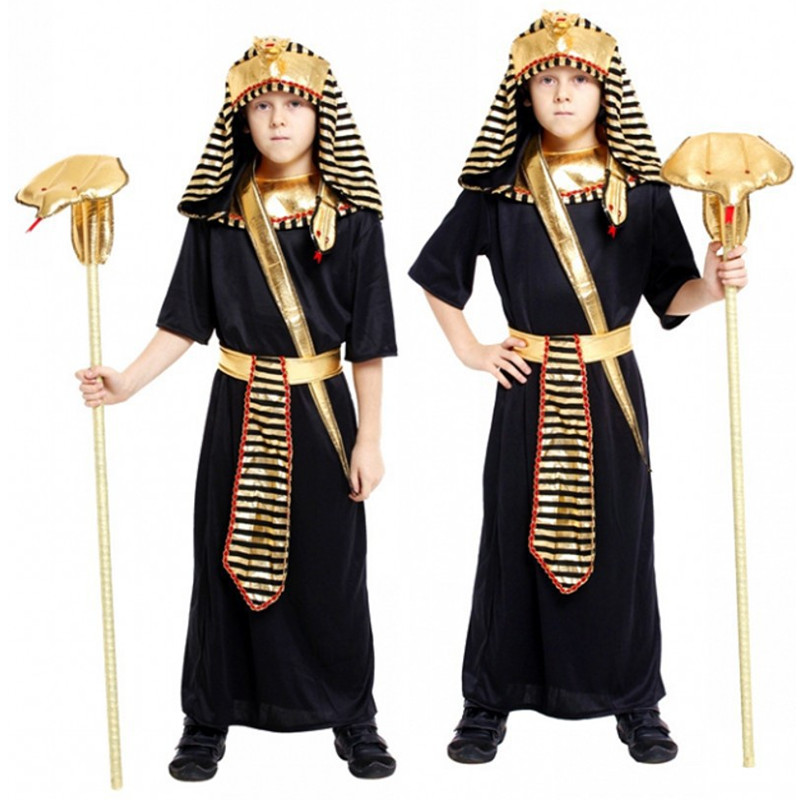 M-XL Kids Boys BlackThe Egyptian Pharaoh robe Cosplay Halloween Costume for Children's day Carnival Purim Masquerade party dress