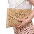 HOT ! 2017 women clutch bag female hollow cut out yellow envelope clutch purse evening clutch bags for girl wedding day clutch