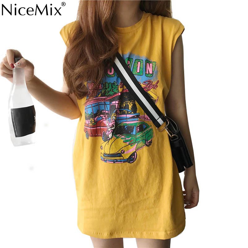 NiceMix 2019 Summer Women   Tank     Top   Print Vintage Cartoon Pattern Casual Loose Long Shirt Tumblr   Tank     Tops   Camisetas Mujer