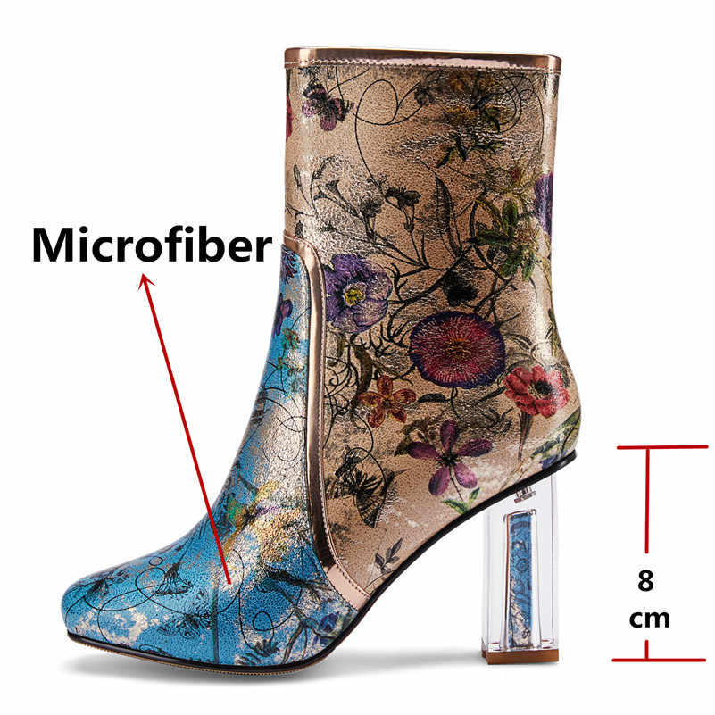 FEDONAS Vintage พิมพ์ไมโครไฟเบอร์หนังผู้หญิงกลางลูกวัวรองเท้าบูท Elegant Square Toe ซิปสแควร์ส้นรองเท้าเชลซีรองเท้า