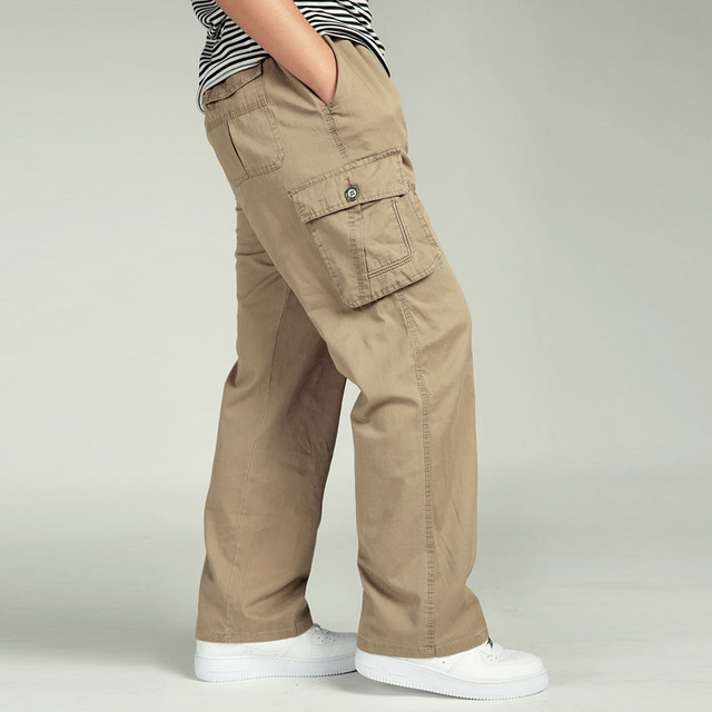 f4bad845f87 Summer Men s Plus Size Clothing 4XL 5XL 6XL Cargo Pants Big Tall Casual  Many Pockets Loose Work Pants Male Straight Trousers