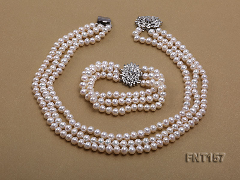 Charming Pearl Jewellery Set Top Quality 7-8MM White Color 3rows Freshwater Pearl Necklace Bracelet Rhinestone Clasp For Women sweet rhinestone and faux pearl embellished floral double layered bracelet for women
