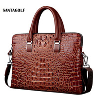 Real Cow Leather Men S Briefcase Luxury Crocodile Pattern Cowhide Leather Briefcase Male Shoulder Bag Commercial