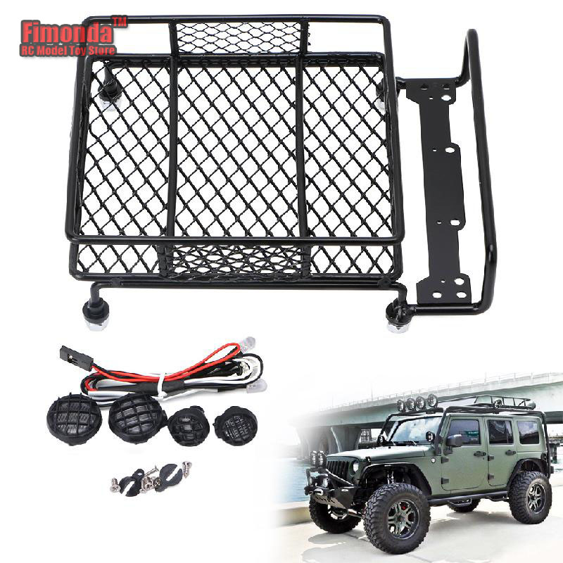 1Set RC Car Roof Luggage Rack Car Roof Lights Set For Tamiya 1/10 SCX10 CC01 RC4WD D90 RC Climbing Truck Model Decor Simulation
